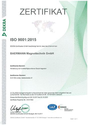 Baermann Magnettechnik Zertifikat Dekra Iso 9001 2015